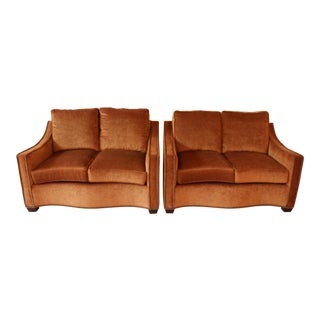 Custom Love Seats With Nailhead Detail - A Pair