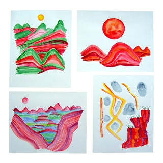 Abstract Watercolors by Amy Freeman Lee - Set of 4