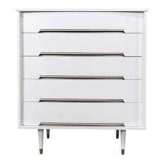 Mid-Century Modern White & Gold Dresser