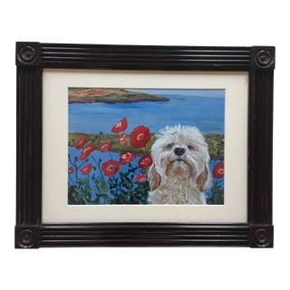 Doodle Dog With Poppies Print by Judy Henn