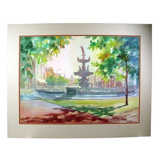 """""""Court Square Fountain"""" Watercolor Painting"""