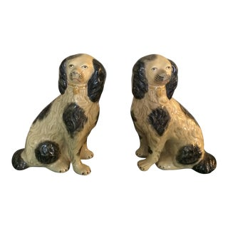 Staffordshire Style Vintage Dog Bookends - A Pair