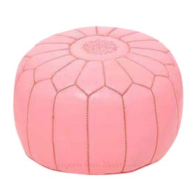 Moroccan Leather Pouf Footstool Rose Petal Pink