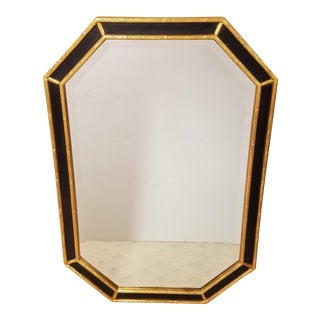 Hollywood Regency Black and Gold Faux Bamboo Beveled Mirror