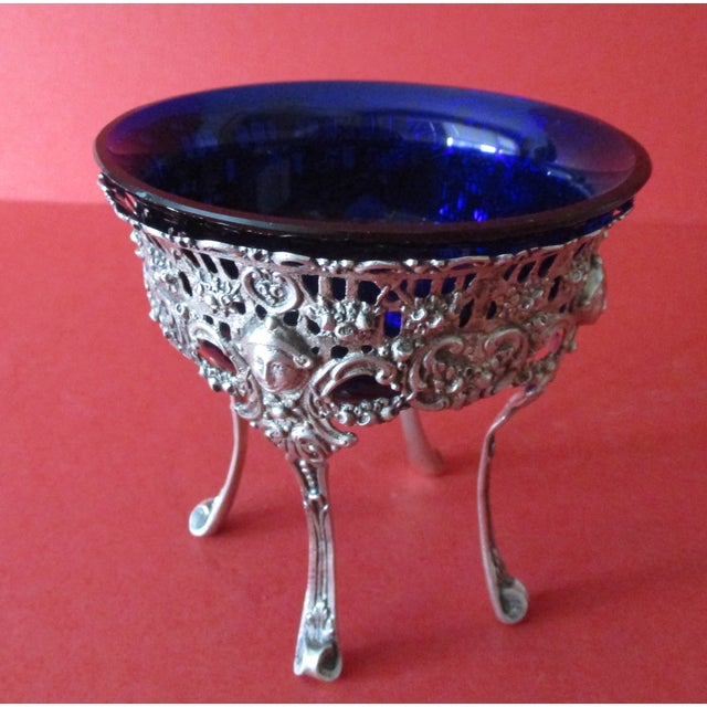 Antique Continental Silver & Blue Glass Bowl - Image 4 of 6