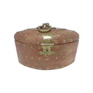 Rustic Wooden Box With Brass Accents