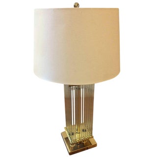 Mid-Century Modern Lightolier Brass & Glass Rod Table Lamp