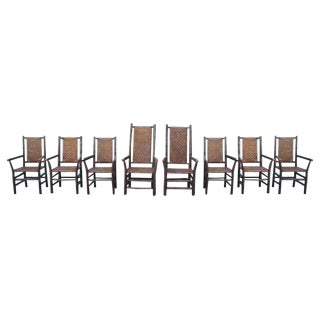 Set of Eight Matching Signed Old Hickory Dining Chairs