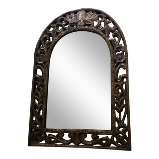 Hand-Hammered Metal & Wood Mirror
