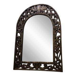 Hand-Hammered Metal & Wood Mirror