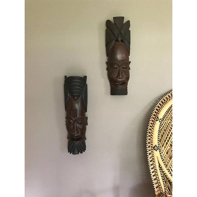 Vintage Hand-Carved Tribal Warrior Masks - A Pair - Image 3 of 6
