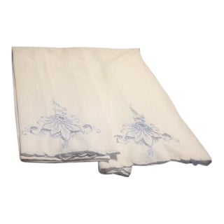 Vintage White & Blue Embroidered Pillowcases - A Pair