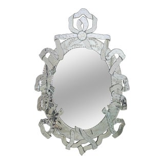 Large Venetian Mirror with Ribbon Motif, Italy, 1950s
