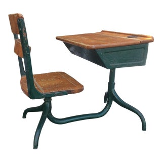 Antique Child's Cast Iron School Desk