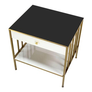 Solid Brass Mid Century Modern End Side Table On e Drawer Stand.