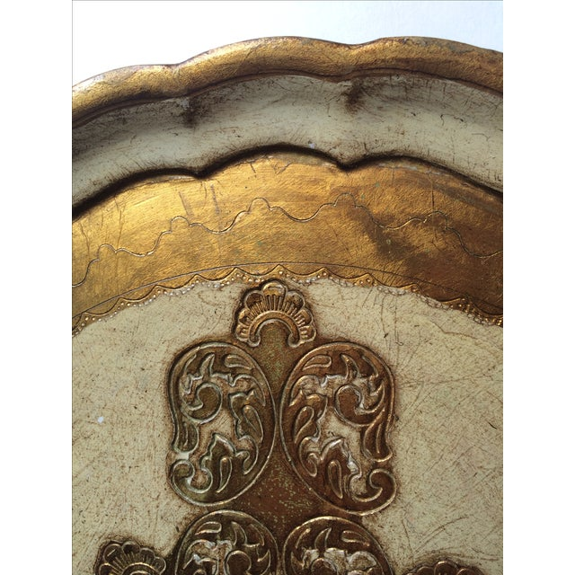 Vintage Florentine Carved Gold and Cream Tray - Image 3 of 6