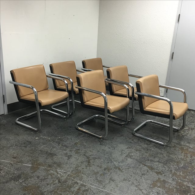 Krueger Leather & Chrome Chairs - Set of 6 - Image 4 of 8