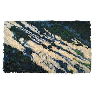 Marbleized Rya Rug - 4′ × 5′10″