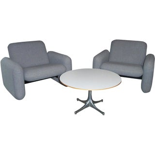 Herman Miller Chiclet Chairs & Table - Set of 3