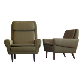 1960's Svend Skipper Danish His & Hers Lounge Chairs - A Pair