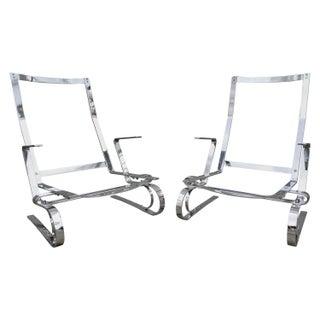 Flat Bar Steel Chrome Lounge Chairs - A Pair