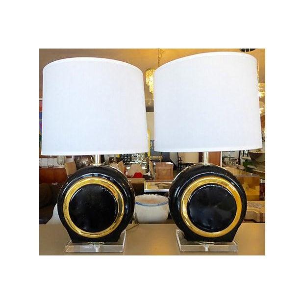 Image of Mid-Century Black Ceramic Lamps on Lucite Base - 2