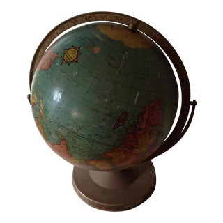 Vintage Metal Base Large Globe