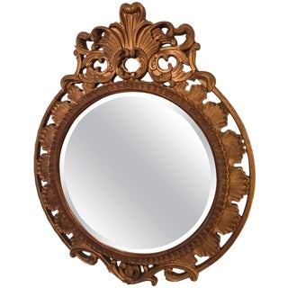 Italian Palatial Gilt Decorated Carved Circular Wall or Console Mirror