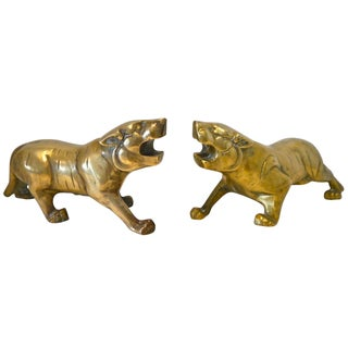 Art Deco Style Brass Tigers - A Pair