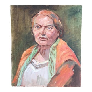 Woman in Orange Shawl Oil Portrait Painting