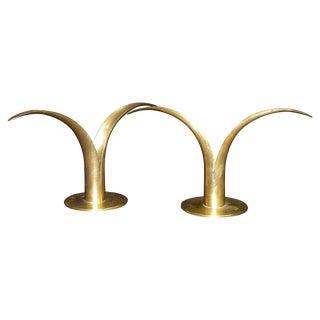 Mid-Century Swedish Brass Candlesticks
