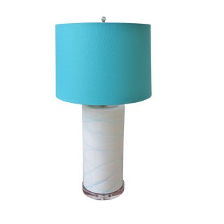 White and Blue Swirled Glass Column Lamp with Shade