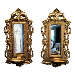 Vintage French Style Gilt Candle Sconces - A Pair