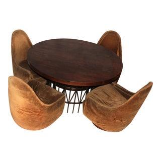 Rosewood Swivel Lounge Chairs & Game Table by Milo Baughman - Set of 5
