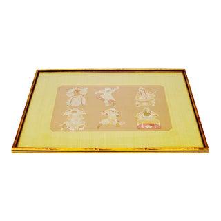 Framed Asian Paper Cut-Out Warriors