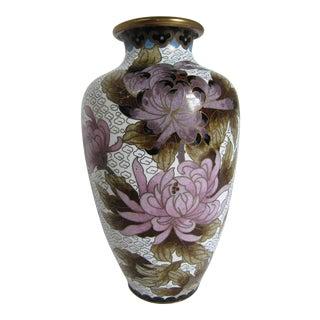 Cloisonné Purple & Black Floral Vase