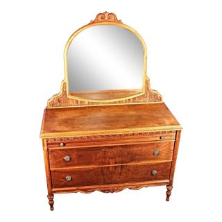 Antique Art Deco Veneered Dresser with Mirror