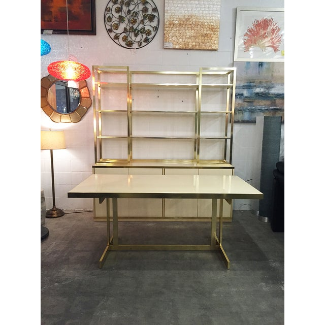 Image of 1970s Gold & Cream Dining Table With 8 Gold Chairs