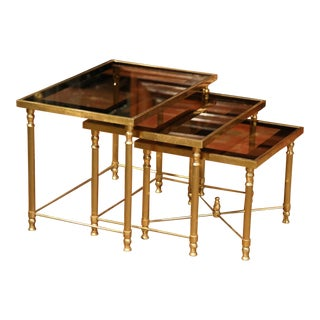 Early 20th Century, French Brass Nesting Tables Gigognes - Set of 3