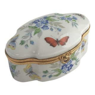 Limoges Floral Butterfly Trinket Box