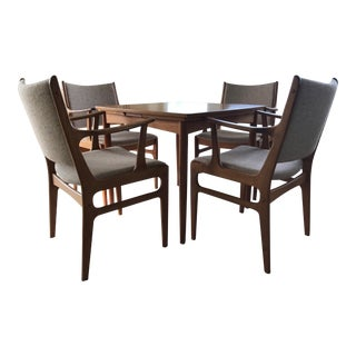 Mid-Century Expandable Wood Dining Card Table Set