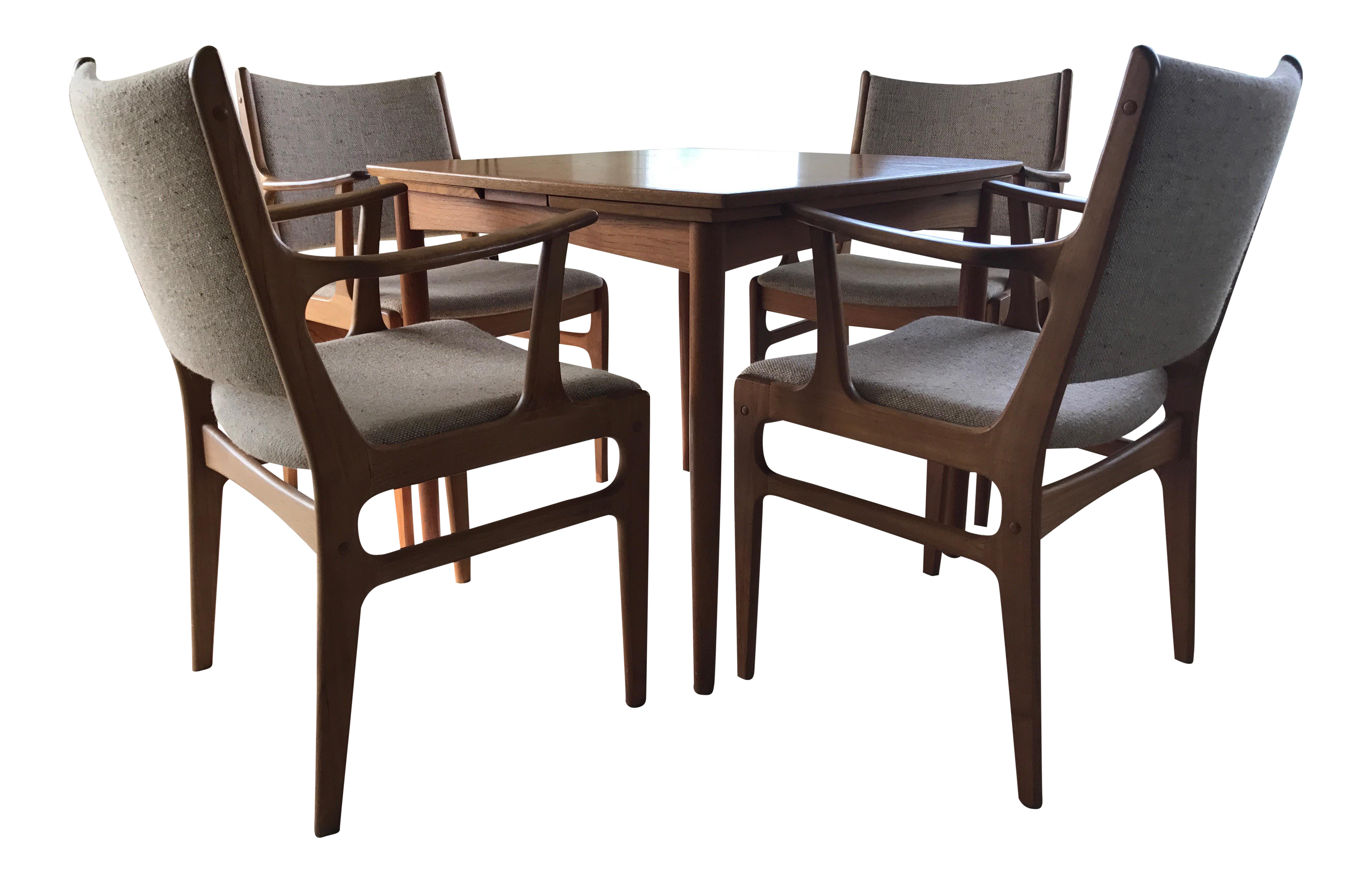 Mid Century Expandable Wood Dining Card Table Set