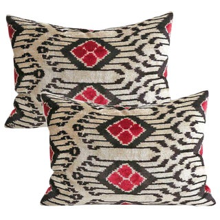 Silk Velvet Down Feather Accent Pillows - A Pair