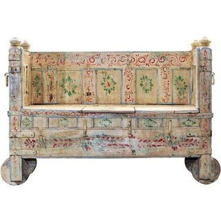 Memory Lane Hand-Painted Wooden Storage Bench