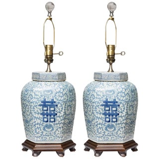 Pair of Hexagon Chinese Lidded Jars as Table Lamps