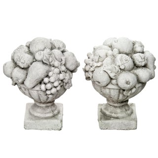 Cast Concrete Fruit Baskets - A Pair