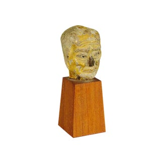 Folk Art Head Ceramic Sculpture