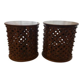 Vintage Bamlieke Style Side Tables - a Pair