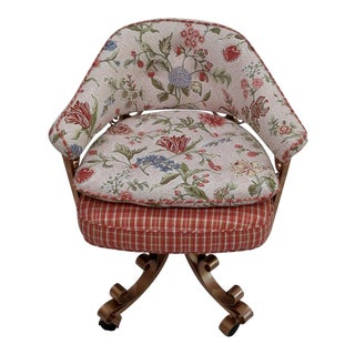 French Floral Swivel Desk Chair