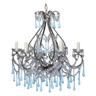 Murano Aqua Glass Drop Crystal Chandelier